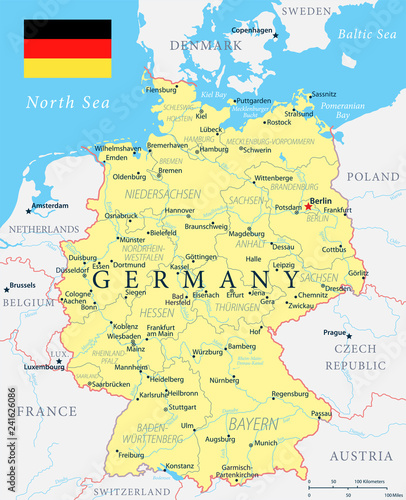 Germany Map - Yellow - Highly detailed vector illustration ...