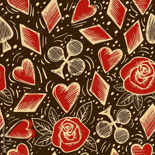 фотография  Playing chips and cards seamless pattern on dark background