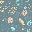 Seamless abstract floral pattern with brush stroke leaves and flowers. Scandinavian stile