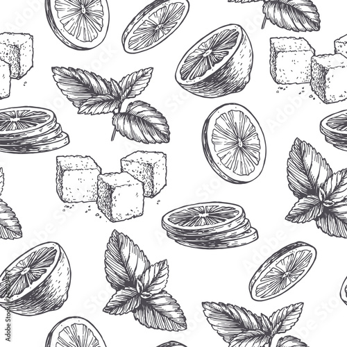 Vector vintage seamless pattern with ingredients for cocktail. Hand drawn color texture with peppermint leaves, green slices of lime and sugar in engraving style. Sketch of spices isolated on white. Wall mural