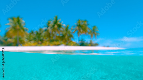 Photo  HALF UNDERWATER: Blurred shot of the sandy tropical beach and turquoise ocean