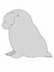 cute cartoon elephant seal   animal illustration