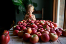 Girl With Fresh Red Apples On ...