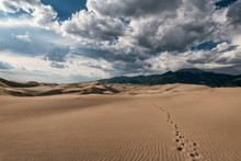 View Of Desert And Mountains At Great Sand Dunes National Park And Preserve