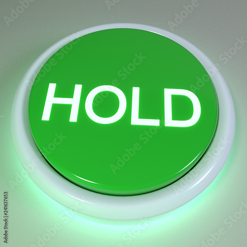 """Fotografie, Obraz  Green button """"HOLD"""" displayed on button, action concept, cryptocurrency market,"""