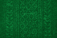 Green Sweater Knit Textured Background.