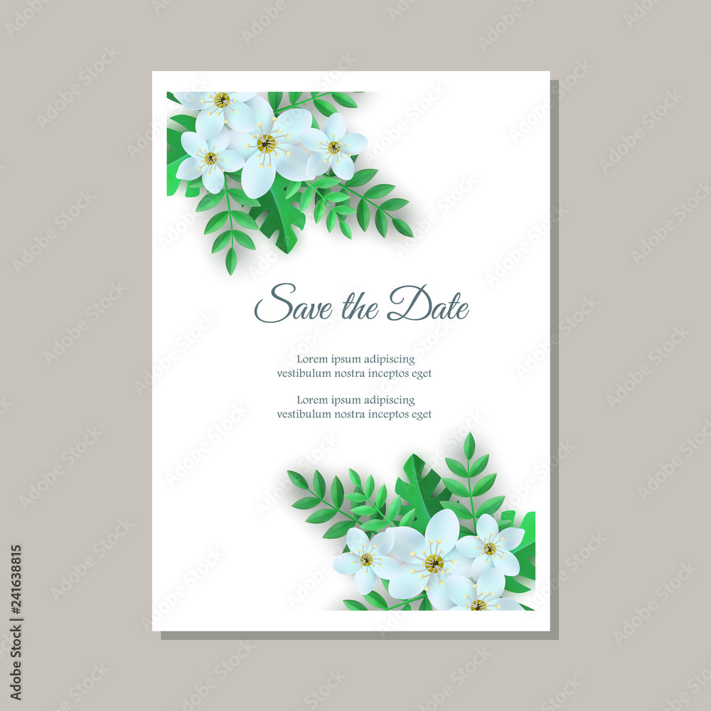 Vector Illustration Of Tender Wedding Invitation Card With