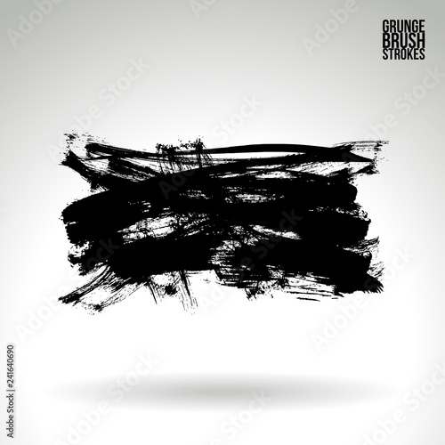 Photo sur Plexiglas Forme Black brush stroke and texture. Grunge vector abstract hand - painted element. Underline and border design.