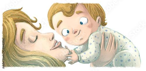 Valokuva  bebe con su madre