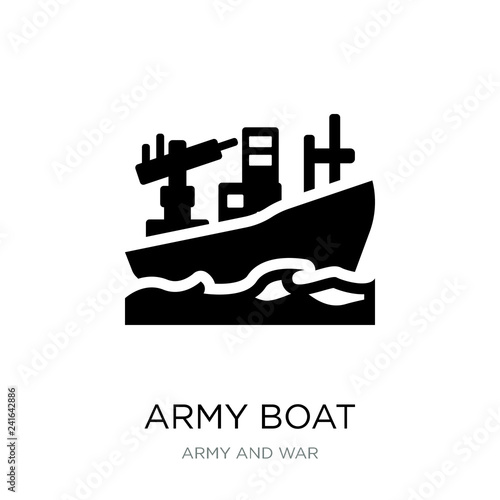 Cuadros en Lienzo army boat icon vector on white background, army boat trendy fill