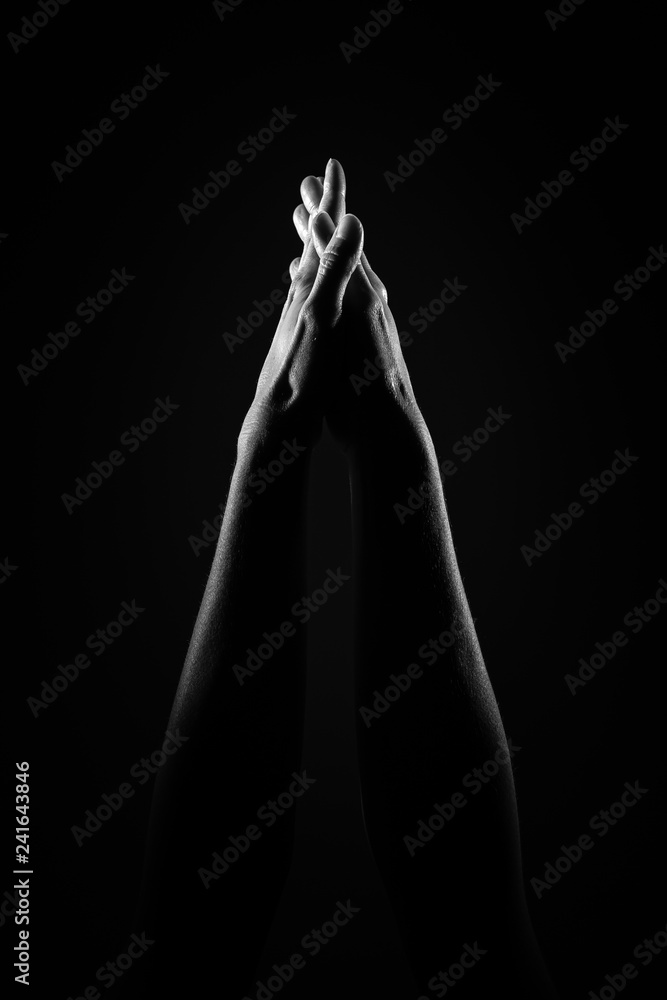 Fototapety, obrazy: Connected hands in the air, black and white picture with high contrast