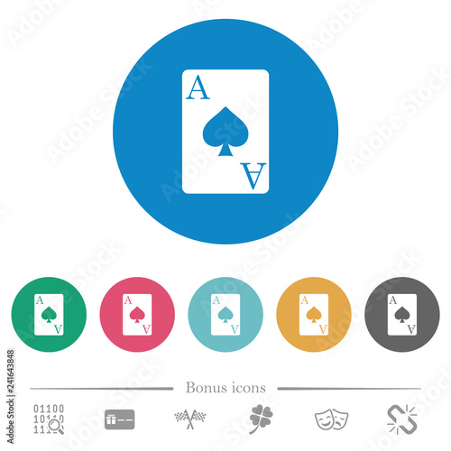 Photo  Ace of spades card flat round icons
