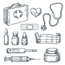 First Aid Kit Vector Sketch Il...