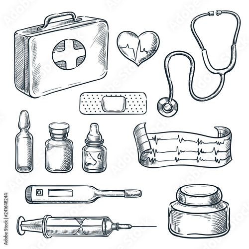 First aid kit vector sketch illustration  Medicine and