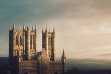Lincoln Cathedral During Beautiful Golden Sunset, One Of Europe's Finest Gothic Buildings. UK