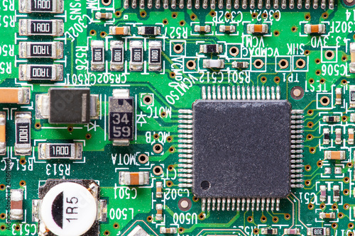Fotografiet  top view of microchip integrated circuit, macro