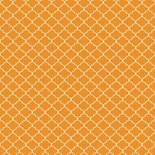 Quatrefoil Seamless Pattern - Graphic Orange And White Quatrefoil Or Trellis Design