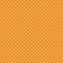 Fish Scales Seamless Pattern - Orange And White Fish Scales Or Scallops Design