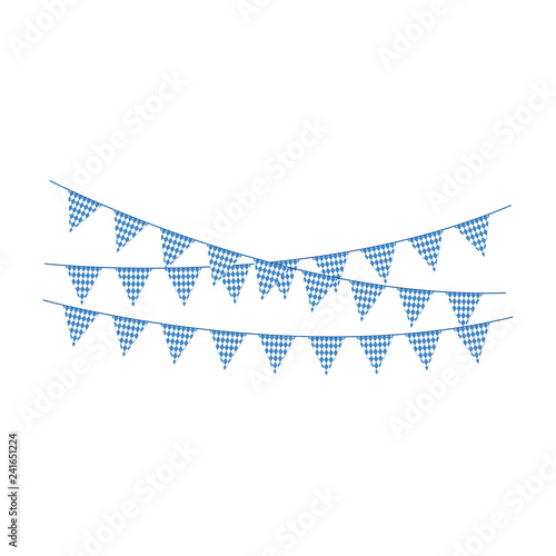 Photographie Blue and White Bunting Banners - Banner or bunting with blue and white colors of
