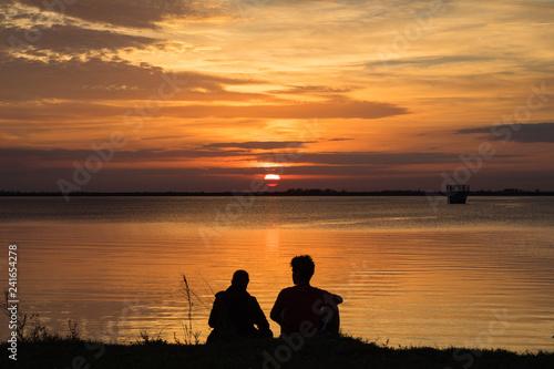 Foto auf AluDibond Pier #Sunset over Lake Washington