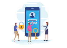 Sign In, Account Log In Page On Smartphone Screen. Password Field, Protection, Registration, Security. Flat Cartoon Miniature  Illustration Vector Graphic On White Background.