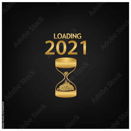 Fotografia  2021 Happy New Year Background with hourglass icon