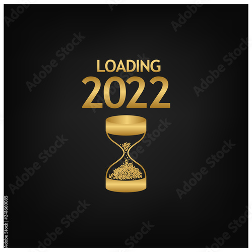 Fotografering  2022 Happy New Year Background with hourglass icon