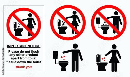 Stampa su Tela  set of sanitary sign. easy to modify