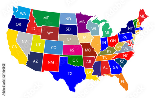 Fotografía  Map of The United States of America (USA) with Colorful States with Name Illustr