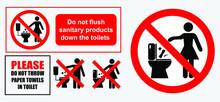 Set Of Sanitary Sign. Easy To Modify