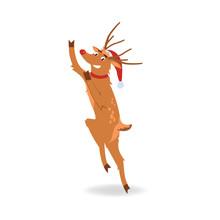 Vector Illustration Of Reindee...