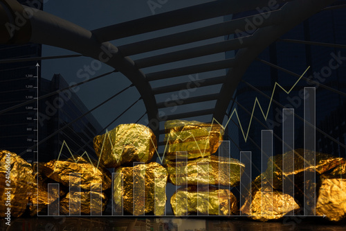 Double exposure of pile of gold nuggets with city background and financial graph, business concept Tapéta, Fotótapéta