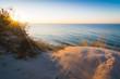 canvas print picture - Sonnenuntergang über den Dünen an der Steilküste auf Insel Rügen