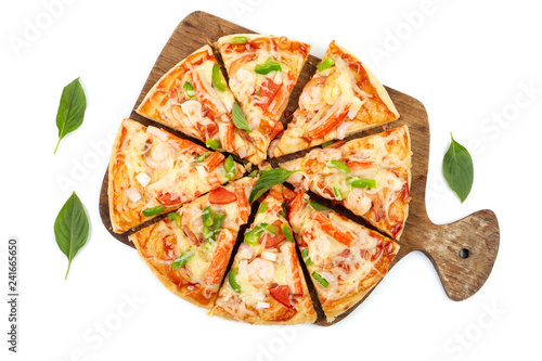 Delicious pizza on wooden isolated on white background Wallpaper Mural