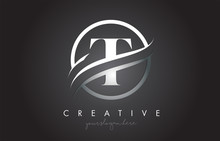 T Letter Logo Design With Circ...