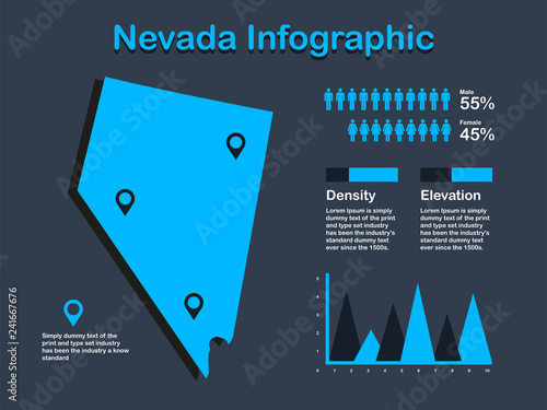 Nevada State (USA) Map with Set of Infographic Elements in ...