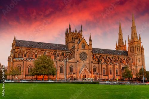 Sunset over St Mary's Cathedral Canvas Print