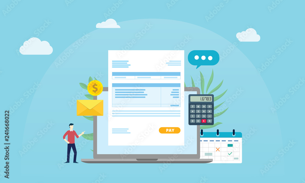 Fototapeta payroll online payment worker people wage with invoice paper document and blue background