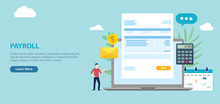 Payroll Employee Worker With Invoice Paper On The Front Of Laptop With Website Design Page Style Banner