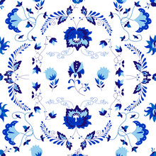 Vector Amazing Patterns Of Flowers In Delfts Blauw Style.