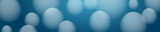 Header of balloons, bubbles and balls, blurry on blue background, vector illustration