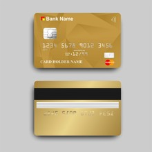 Vector Of Gold Atm Card With Mastercard Logo