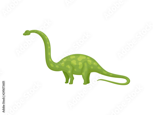 Photo  Flat vector design of green apatosaurus or brachiosaurus