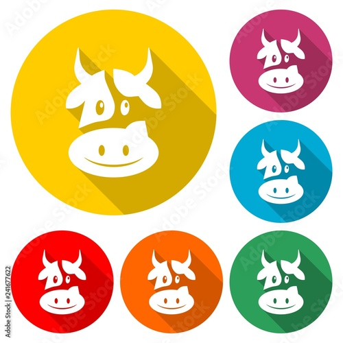Cute cow icon or logo, color set  with long shadow
