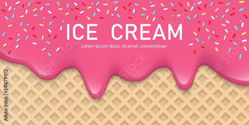 fototapeta na ścianę Creamy liquid, yogurt cream, ice cream or milk melting and flowing on a waffle. Pink creamy drips with powder. Simple cartoon design. Background for banner or poster. Realistic vector illustration.