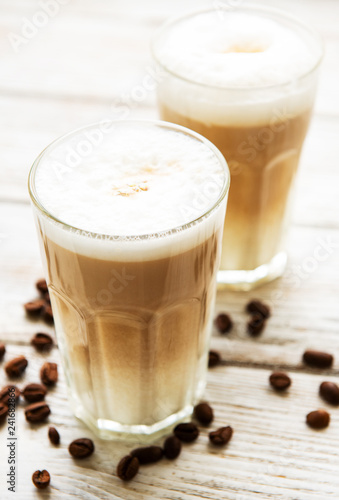 Fotografie, Obraz  Two glasses of latte coffee and coffee beans