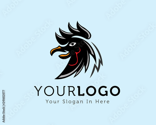 Fotografie, Tablou  drawing head rooster logo design inspiration