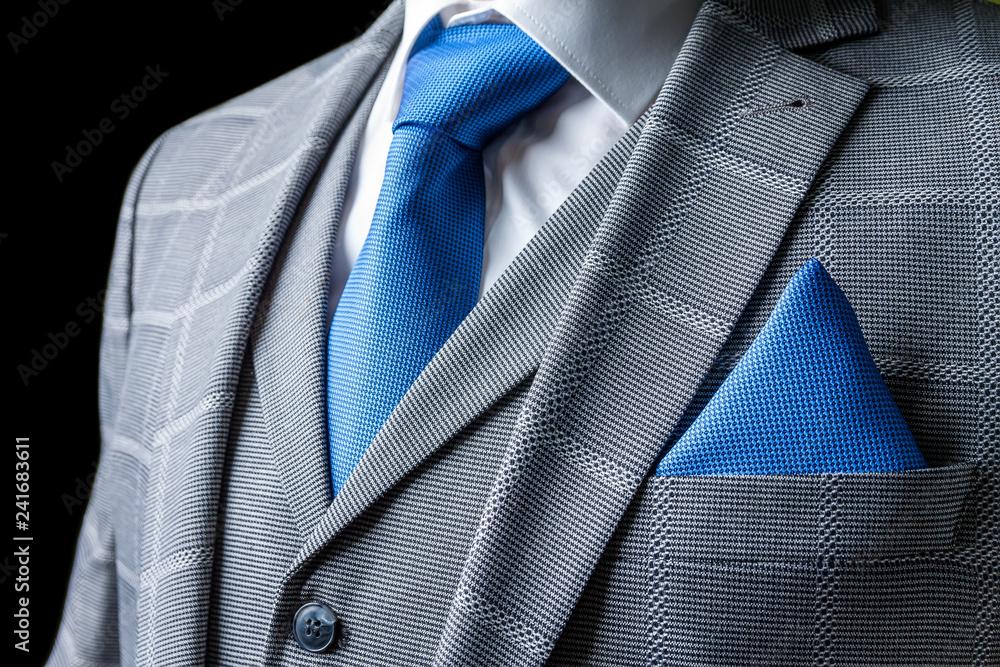 Fototapeta detail of a grey man suit with tie