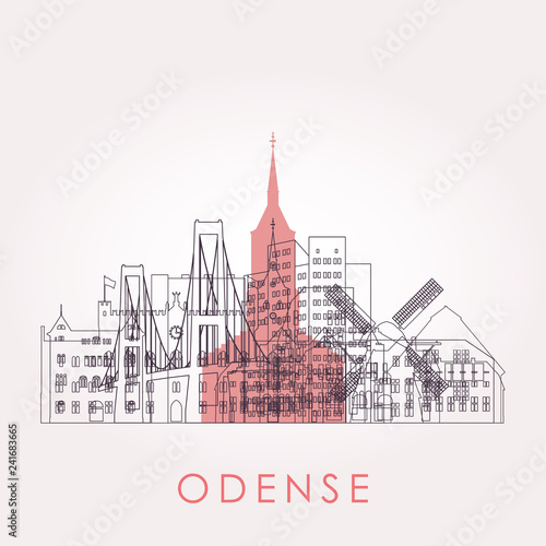 Staande foto Antwerpen Outline Odense skyline with landmarks. Vector illustration. Business travel and tourism concept with historic buildings. Image for presentation, banner, placard and web site.