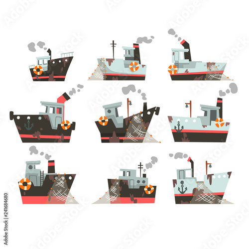 Collection of fishing boats, trawlers for industrial seafood production, retro m Canvas Print